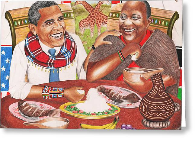 Barack Obama Pastels Greeting Cards - Obama Comes Home The Uhuru Visit Greeting Card by Dayan Masinde