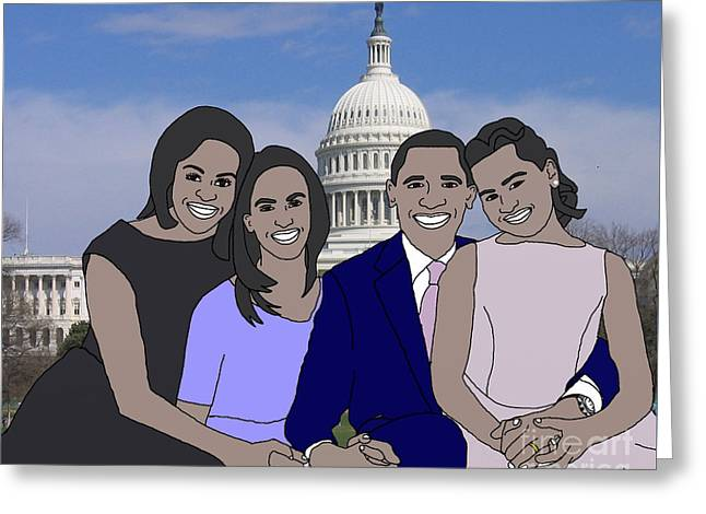 Obama Family In Washington Dc Greeting Card by Priscilla Wolfe