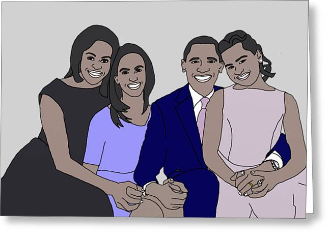 First-lady Drawings Greeting Cards - Obama Family Neutral Background Greeting Card by Priscilla Wolfe