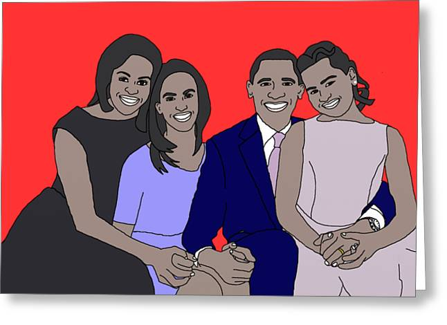 Obama Family Greeting Card by Priscilla Wolfe