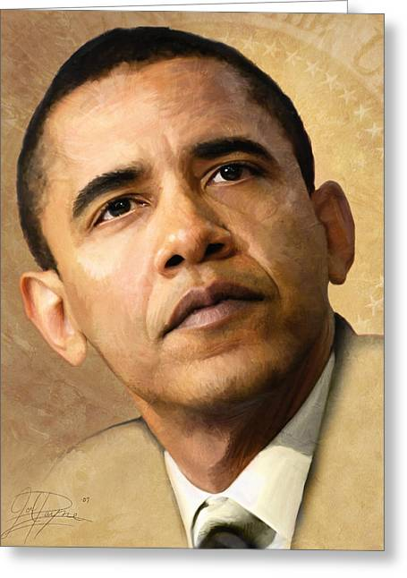 Black Leaders. Greeting Cards - Obama Greeting Card by Joel Payne
