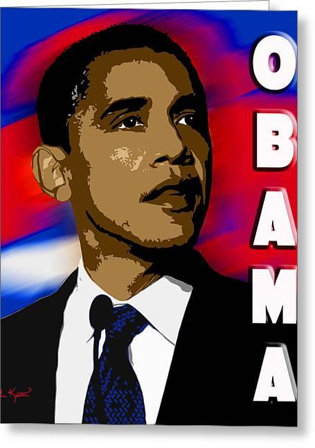Obama Portrait Greeting Cards - Obama Greeting Card by John Keaton