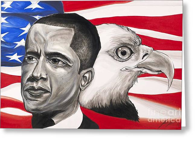Obama Mixed Media Greeting Cards - Obama Greeting Card by Keith  Thurman