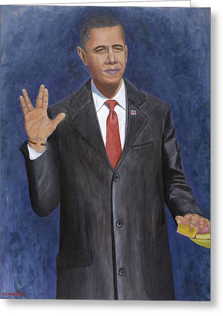 Barack Greeting Cards - Obama Taking the Oath of Office Greeting Card by TC North