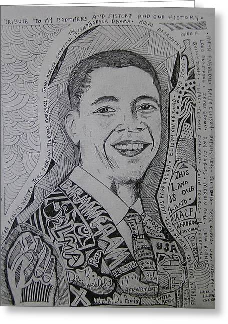 Racism Drawings Greeting Cards - Obama without any of these Greeting Card by Jimmy King