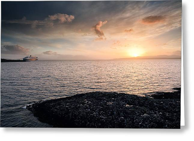 Boat Cruise Greeting Cards - Oban Sunset Greeting Card by Grant Glendinning