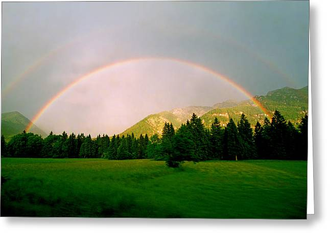 Kevin Smith Greeting Cards - Oberau Rainbow Greeting Card by Kevin Smith
