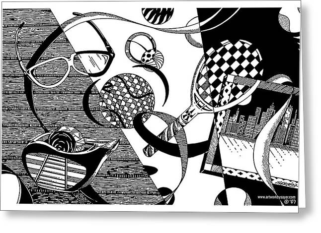 Wood Grain Drawings Greeting Cards - Objects and Ribbon Greeting Card by James Sayer