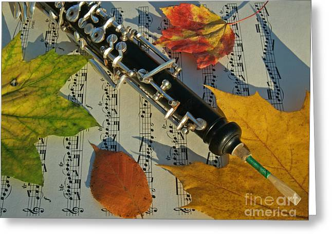 Shadows Greeting Cards - Oboe and Sheet Music on Autumn Afternoon Greeting Card by Anna Lisa Yoder