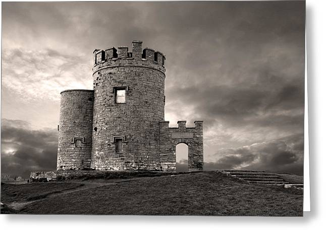 Cliffs Of Moher Greeting Cards - OBriens Tower at the Cliffs of moher Ireland Greeting Card by Pierre Leclerc Photography