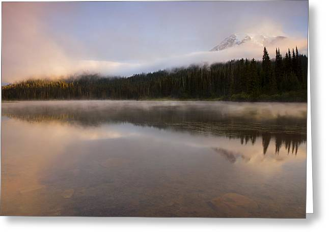 Mt Greeting Cards - Obscured Dawn Greeting Card by Mike  Dawson