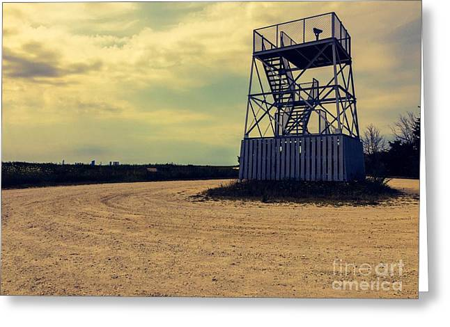 Wildlife Refuge. Greeting Cards - Observation Tower Greeting Card by Tom Gari Gallery-Three-Photography