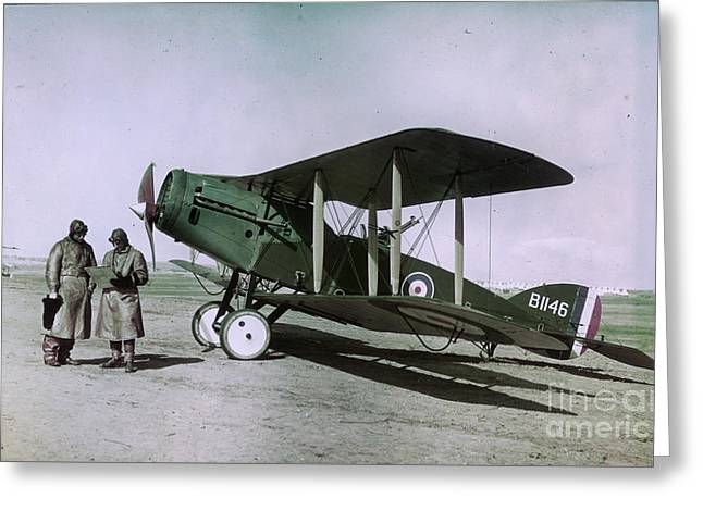 Observer Pilot And Bristol Fighter F2b Aircraft 1918 Greeting Card by MotionAge Designs