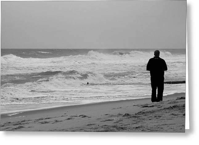 Bay Head Beach Greeting Cards - Observing - Jersey Shore Greeting Card by Angie Tirado