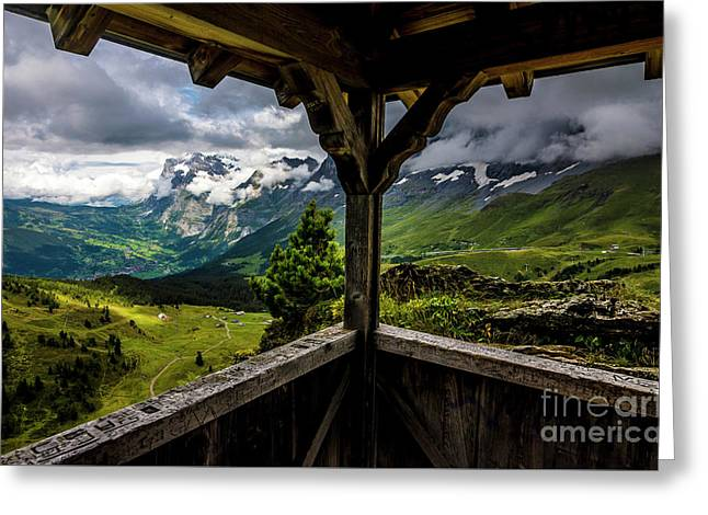 Observing The Grindelwald Valley And Swiss Alps Greeting Card by Gary Whitton