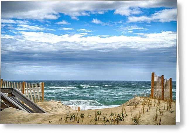 Sand Fences Greeting Cards - Obx Greeting Card by Ches Black