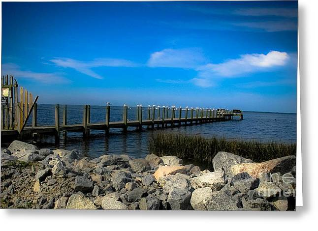Valerie Morrison Greeting Cards - OBX Pier Greeting Card by Valerie Morrison