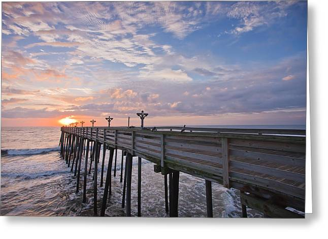 Panoramic Ocean Photographs Greeting Cards - OBX Sunrise Greeting Card by Adam Romanowicz