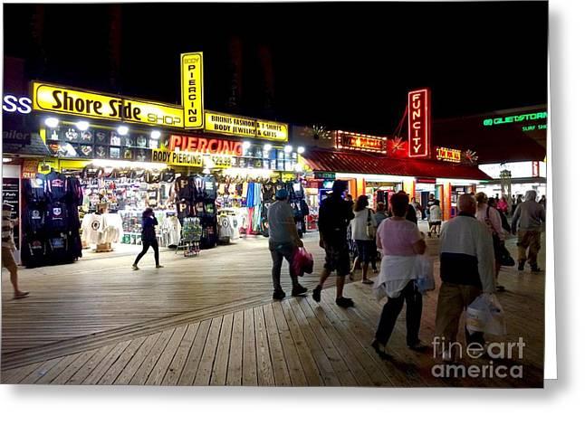 Surf City Greeting Cards - OC Boardwalk Shops Greeting Card by Doug Swanson