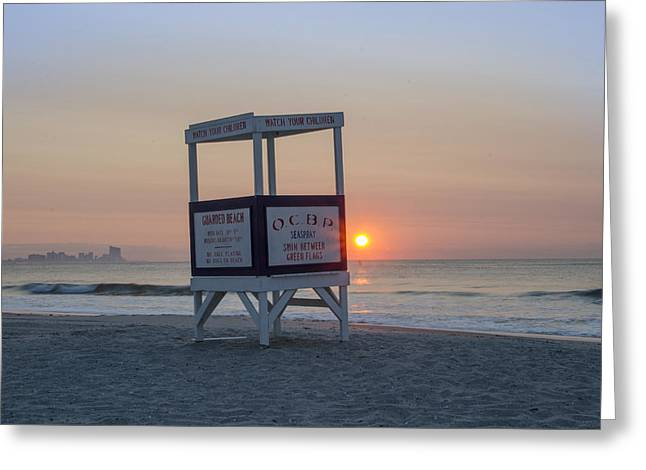 Ocbp - Sunrise In Ocean City Greeting Card by Bill Cannon