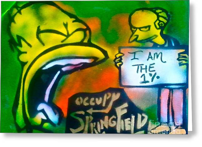 Recently Sold -  - 99 Percent Greeting Cards - Occupy Springfield Greeting Card by Tony B Conscious
