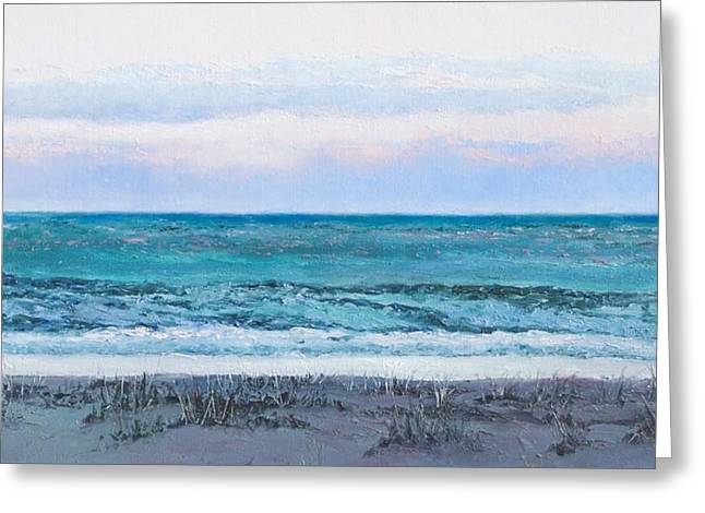 Tropical Oceans Greeting Cards - Ocean at Dusk Greeting Card by Jan Matson