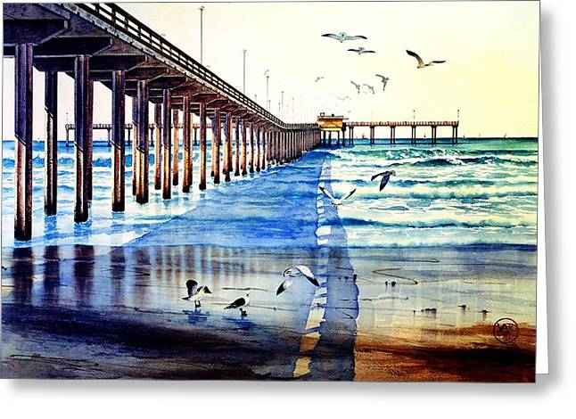 Ocean Beach Pier Greeting Card by John YATO