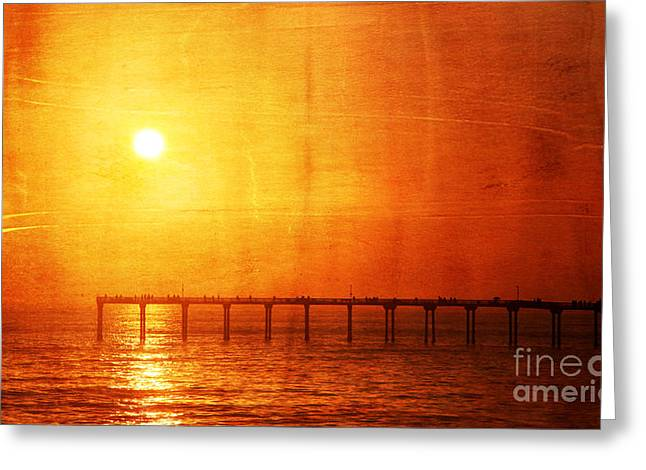 Sunset Posters Greeting Cards - Ocean Beach Pier Sunset Greeting Card by Jennifer Mecca