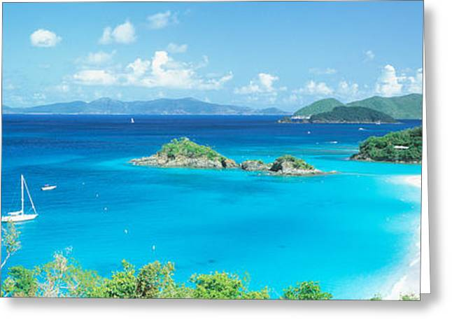 Moored Sailboats Greeting Cards - Ocean, Beach, Water, Trunk Bay, St Greeting Card by Panoramic Images