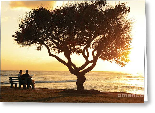 Holden Beach Greeting Cards - Ocean Bench Sunset Greeting Card by Brandon Tabiolo - Printscapes
