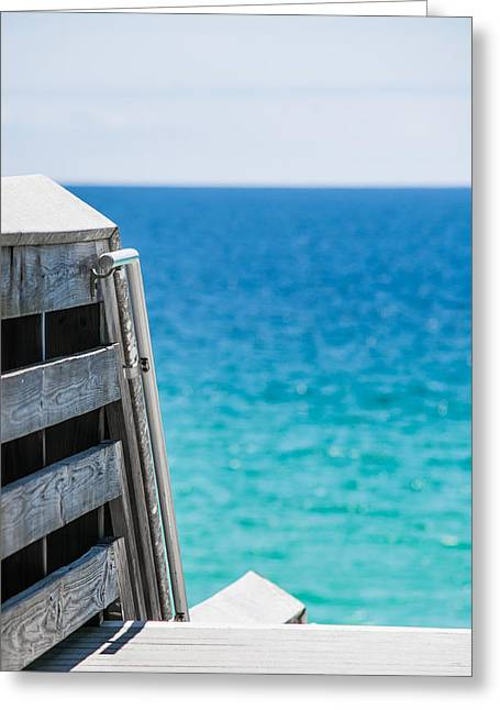 Wooden Stairs Greeting Cards - Ocean Blues Greeting Card by Shelby  Young