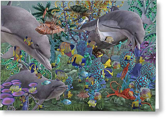 Dolphin Greeting Cards - Ocean Circus Greeting Card by Betsy C  Knapp