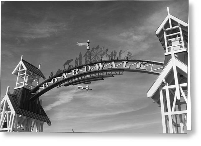 Ocean Art Photos Greeting Cards - Ocean City Boardwalk Black and White Greeting Card by Stephanie McDowell