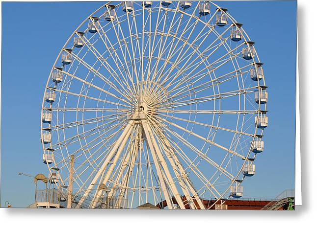 Amusements Greeting Cards - Ocean City Ferris Wheel Greeting Card by Joanie Drake
