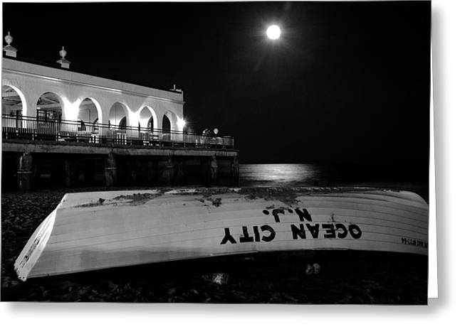 Sea Moon Full Moon Greeting Cards - Ocean City Music Pier Greeting Card by Don Mennig