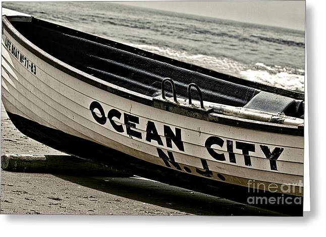 Photo Art Gallery Greeting Cards - Ocean City NJ In Black and White Greeting Card by Tom Gari Gallery-Three-Photography