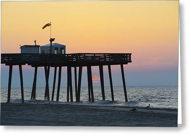 Bill Cannon Photography Greeting Cards - Ocean City - Sunrise at the 14th Street Pier Greeting Card by Bill Cannon