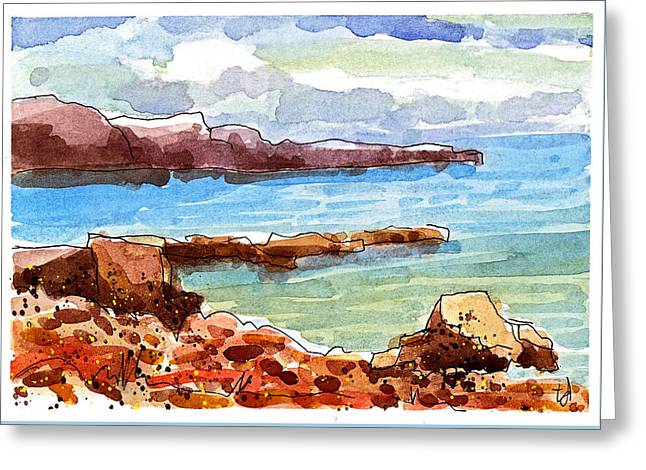 Ocean Cliffs Greeting Card by Tonya Doughty