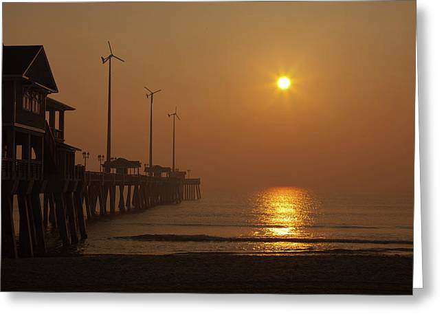 Ocean Dawn Wind Turbines Greeting Card by Daniel Lowe