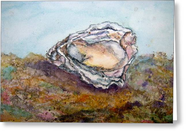 Oyster On Half-shell Greeting Cards - Ocean Delight Greeting Card by Carol Warner