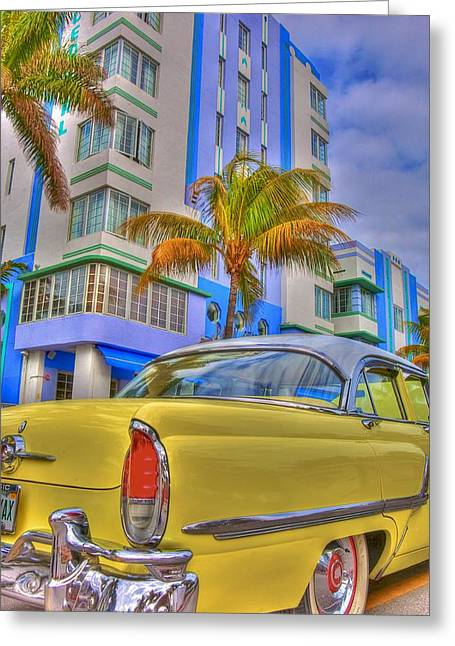 Classic Car Greeting Cards - Ocean Drive Greeting Card by William Wetmore