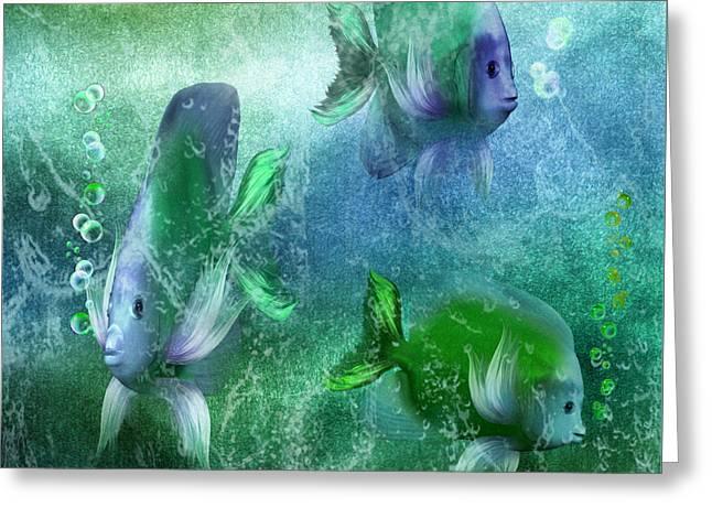 Bathroom Prints Greeting Cards - Ocean Fantasy 4 Greeting Card by Carol Cavalaris