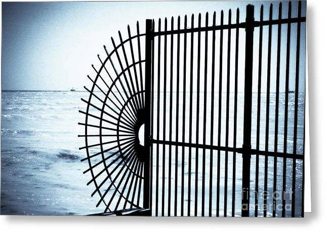 Best Ocean Photography Greeting Cards - Ocean Fence Greeting Card by Perry Webster