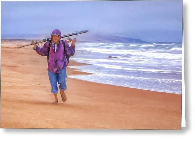 Sand Art Greeting Cards - Ocean Fisherman Greeting Card by Nikolyn McDonald