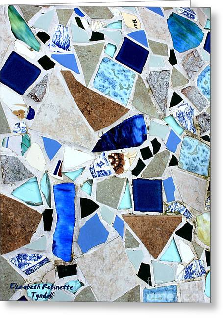Sand Glass Greeting Cards - Ocean Glass Mosaics Greeting Card by Elizabeth Robinette Tyndall