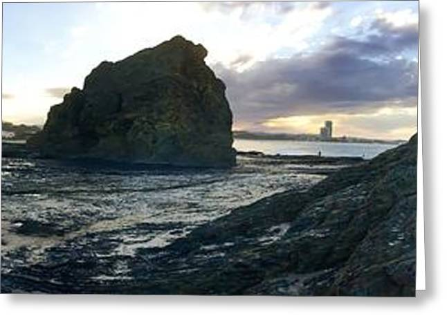 Panoramic Ocean Greeting Cards - Ocean Headland Panorama Greeting Card by Anthony Robinson