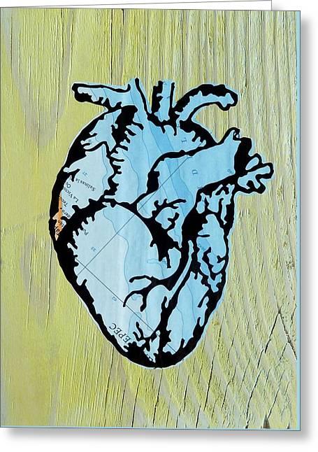 Ocean Heart Greeting Card by Desiree Warren