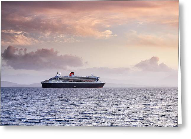 Boat Cruise Greeting Cards - Ocean Liner Sunset Greeting Card by Grant Glendinning