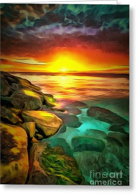 Ocean Images Greeting Cards - Ocean Lit In Ambiance Greeting Card by Catherine Lott