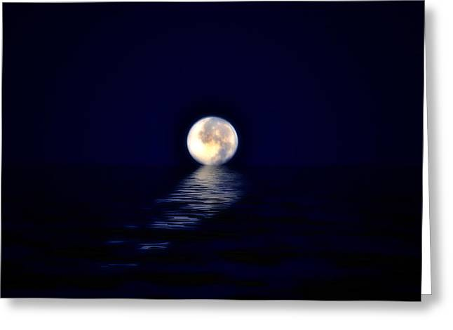 Sea Moon Full Moon Greeting Cards - Ocean Moon Greeting Card by Bill Cannon